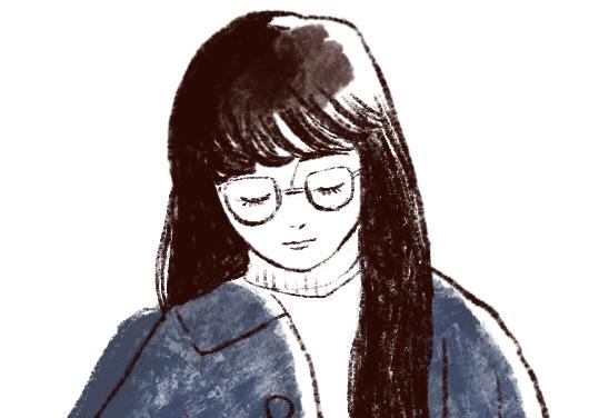 青いコートの女の子