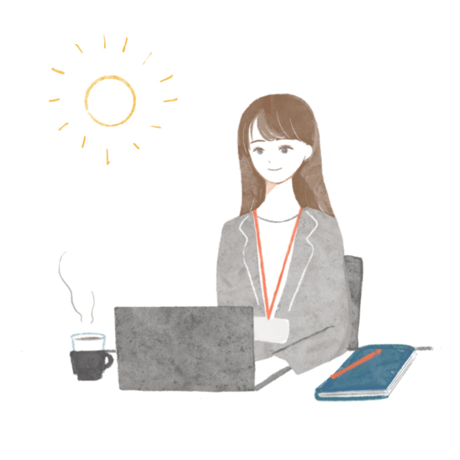 働く女性 朝→夜