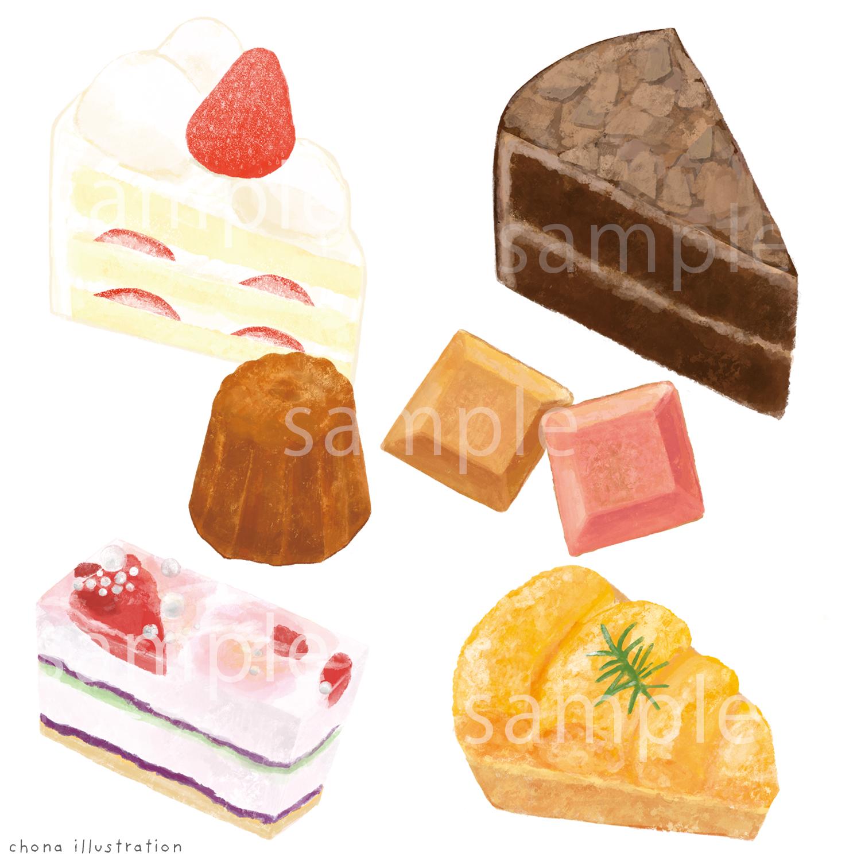【Work】ケーキ屋さんのチラシ用イラスト
